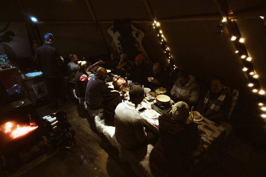 Dinner time in the tipi
