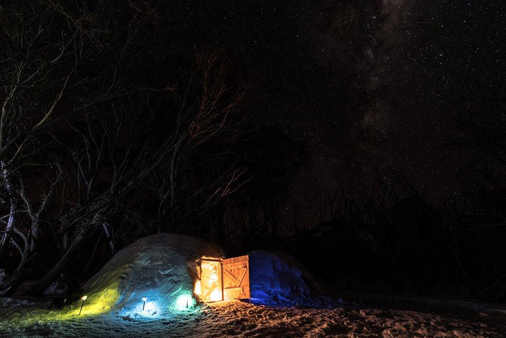 Light cast against the igloo